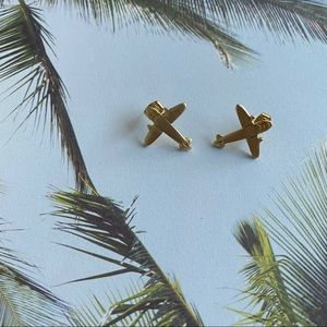 Jewelry - Brand New, Never Worn Gold Airplane Earrings